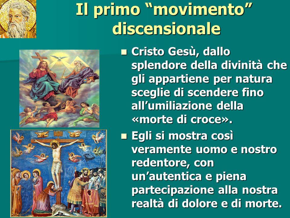 Il primo movimento discensionale Cristo Gesù, dallo splendore della divinità che gli appartiene per natura sceglie di scendere fino allumiliazione del