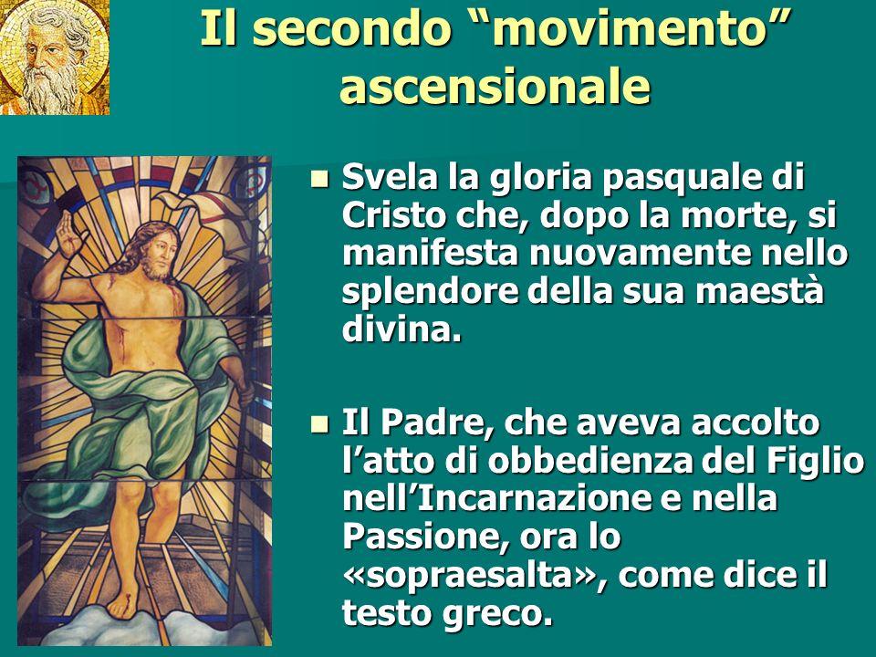 Il secondo movimento ascensionale Svela la gloria pasquale di Cristo che, dopo la morte, si manifesta nuovamente nello splendore della sua maestà divi