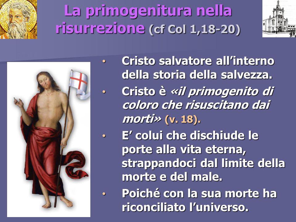La primogenitura nella risurrezione (cf Col 1,18-20) Cristo salvatore allinterno della storia della salvezza. Cristo salvatore allinterno della storia
