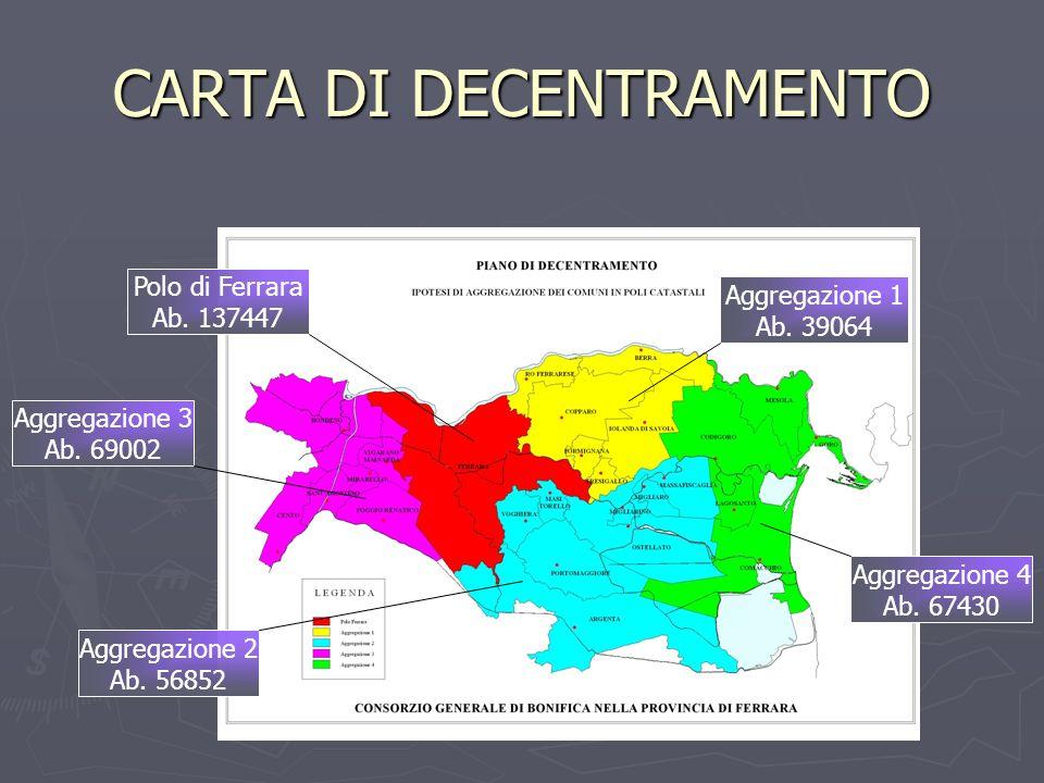 CARTA DI DECENTRAMENTO Aggregazione 3 Ab. 69002 Polo di Ferrara Ab. 137447 Aggregazione 1 Ab. 39064 Aggregazione 2 Ab. 56852 Aggregazione 4 Ab. 67430