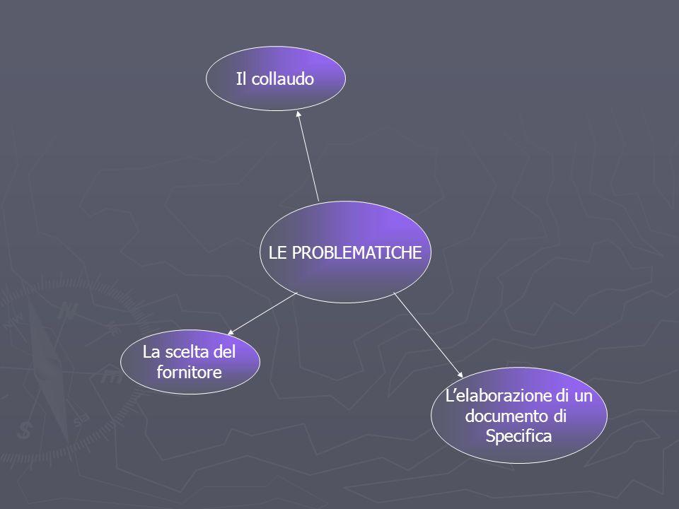 LE PROBLEMATICHE La scelta del fornitore Lelaborazione di un documento di Specifica Il collaudo