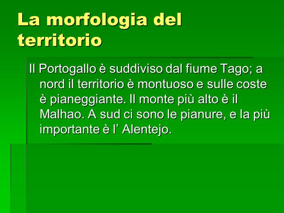 La morfologia del territorio Il Portogallo è suddiviso dal fiume Tago; a nord il territorio è montuoso e sulle coste è pianeggiante. Il monte più alto