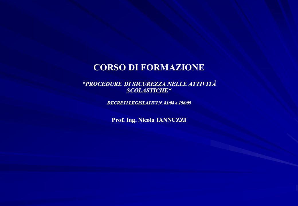 CORSO DI FORMAZIONE PROCEDURE DI SICUREZZA NELLE ATTIVITÀ SCOLASTICHE DECRETI LEGISLATIVI N. 81/08 e 196/09 Prof. Ing. Nicola IANNUZZI