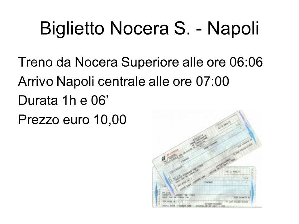 Biglietto Nocera S. - Napoli Treno da Nocera Superiore alle ore 06:06 Arrivo Napoli centrale alle ore 07:00 Durata 1h e 06 Prezzo euro 10,00