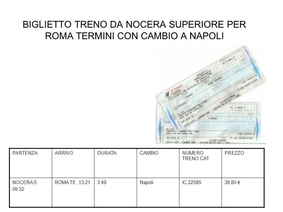 BIGLIETTO TRENO DA NOCERA SUPERIORE PER ROMA TERMINI CON CAMBIO A NAPOLI PARTENZAARRIVODURATACAMBIONUMERO TRENO CAT. PREZZO NOCERA S. 09:32 ROMA TE. 1