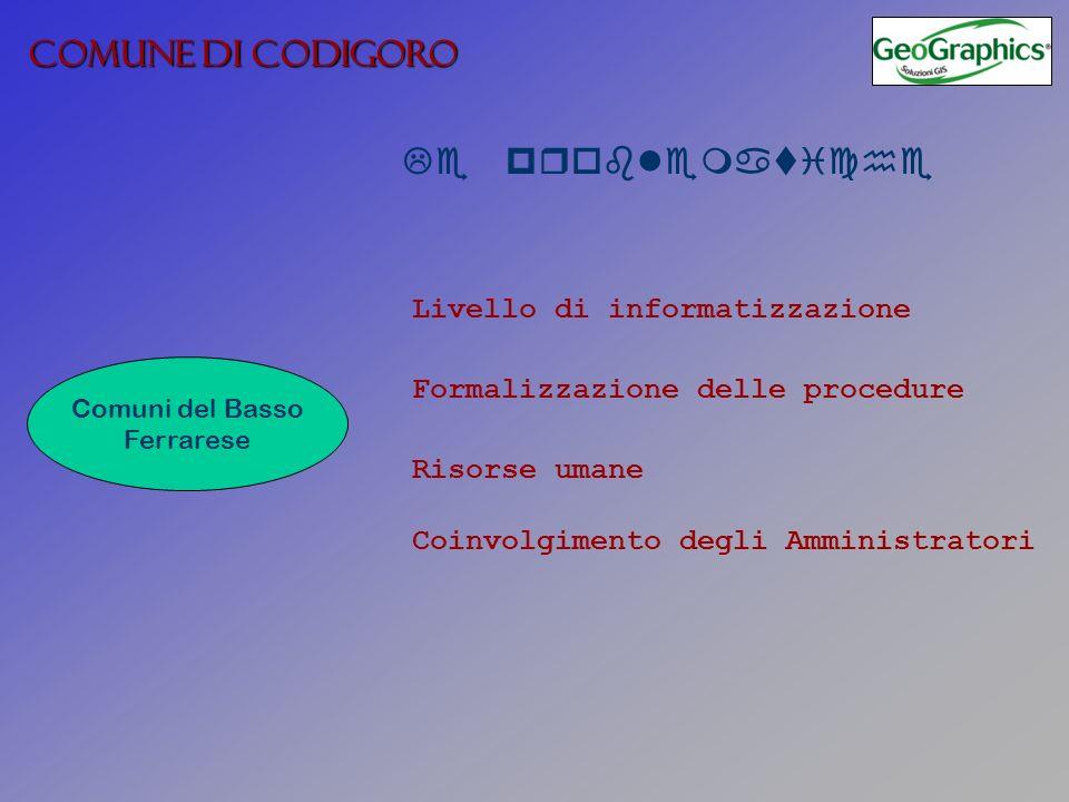 COMUNE DI CODIGORO Le problematiche Comuni del Basso Ferrarese Livello di informatizzazione Formalizzazione delle procedure Coinvolgimento degli Ammin