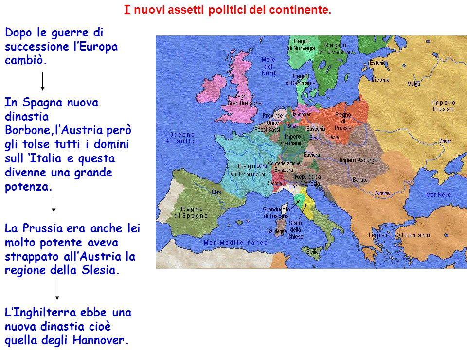 I nuovi assetti politici del continente. Dopo le guerre di successione lEuropa cambiò. In Spagna nuova dinastia Borbone,lAustria però gli tolse tutti