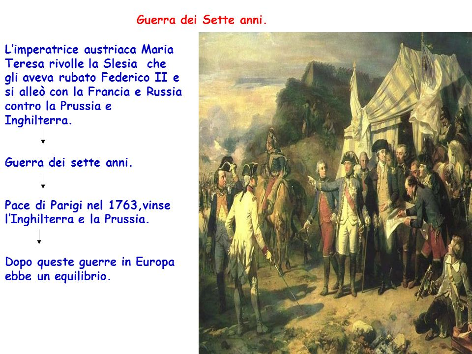 Guerra dei Sette anni. Limperatrice austriaca Maria Teresa rivolle la Slesia che gli aveva rubato Federico II e si alleò con la Francia e Russia contr
