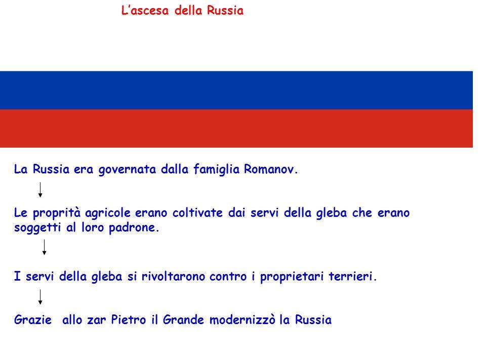 Lascesa della Russia La Russia era governata dalla famiglia Romanov. Le proprità agricole erano coltivate dai servi della gleba che erano soggetti al