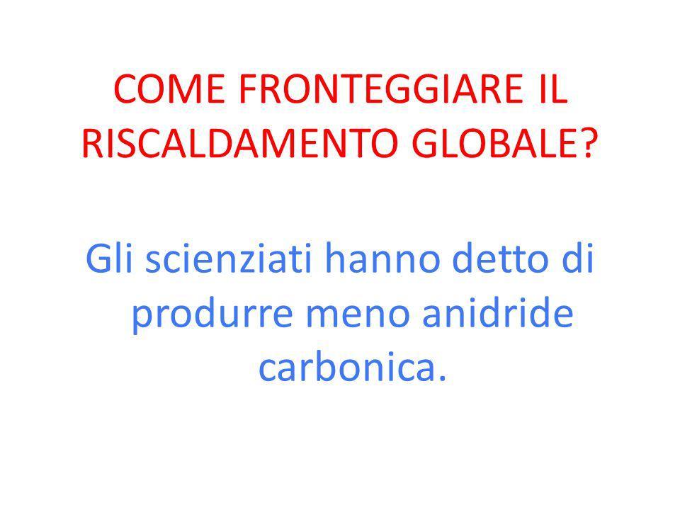 COME FRONTEGGIARE IL RISCALDAMENTO GLOBALE? Gli scienziati hanno detto di produrre meno anidride carbonica.