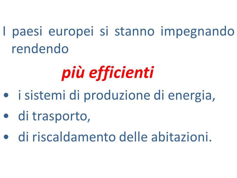 I paesi europei si stanno impegnando rendendo più efficienti i sistemi di produzione di energia, di trasporto, di riscaldamento delle abitazioni.