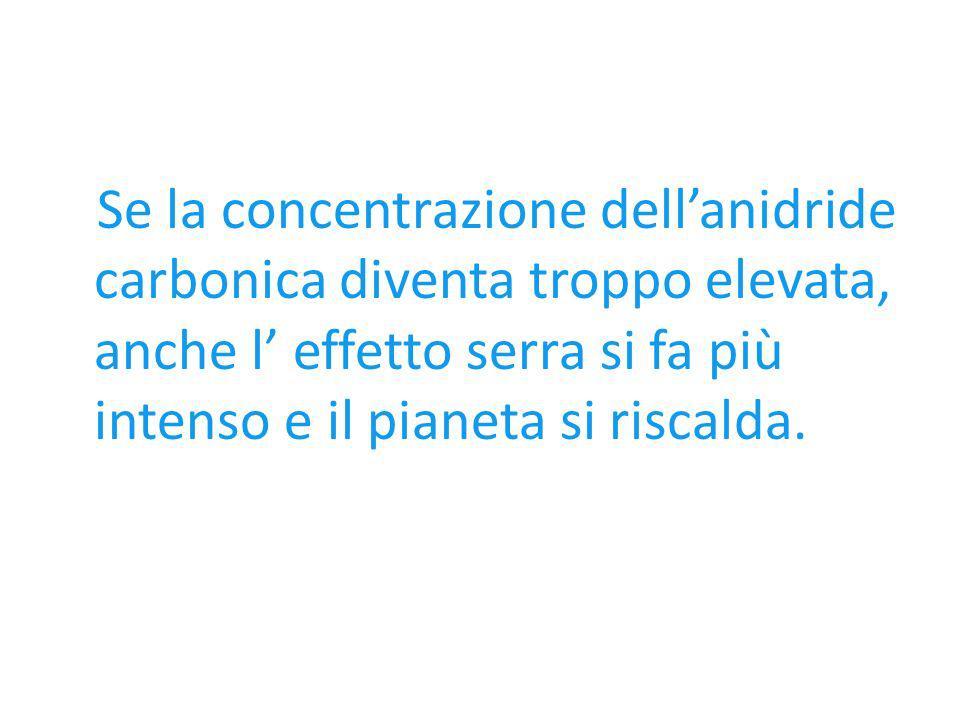 Se la concentrazione dellanidride carbonica diventa troppo elevata, anche l effetto serra si fa più intenso e il pianeta si riscalda.