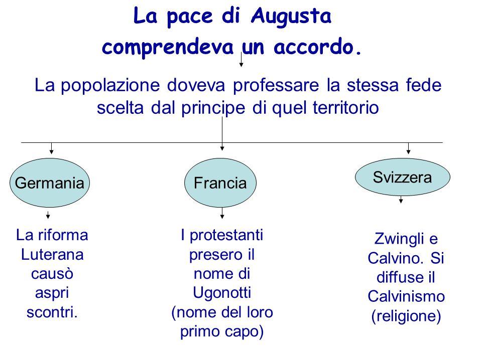La pace di Augusta comprendeva un accordo. La popolazione doveva professare la stessa fede scelta dal principe di quel territorio GermaniaFrancia Sviz