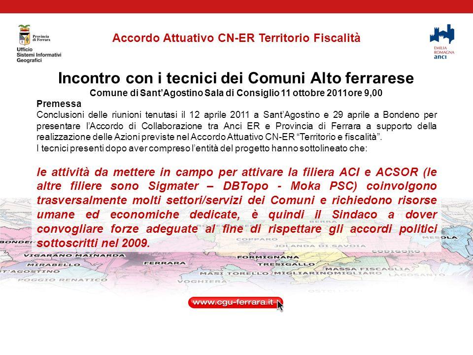 Conferenza dei Sindaci Comuni Alto ferrarese SantAgostino 21 settembre 2011 La Conferenza dei Sindaci si è conclusa dando mandato al Direttore dott.