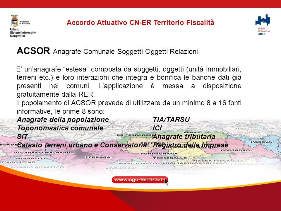 Attività per ACI e ACSOR Si tratta di Dispiegare (cioè installare i software) ACI e ACSOR per tutti i Comuni ed iniziare gradualmente lattività di lAvvio.