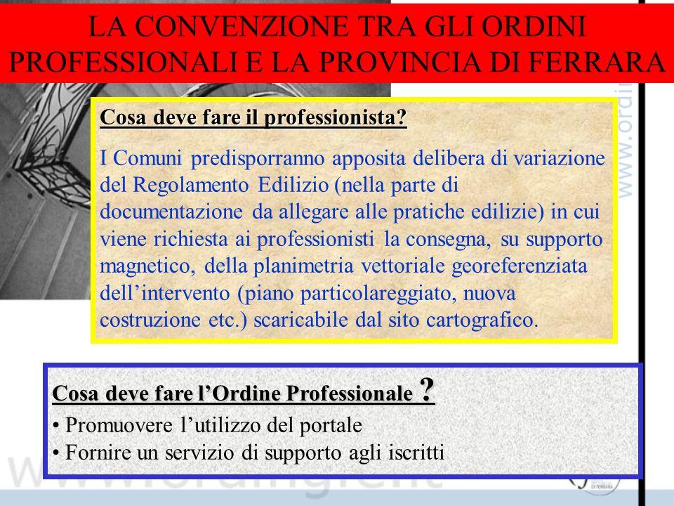 LA CONVENZIONE TRA GLI ORDINI PROFESSIONALI E LA PROVINCIA DI FERRARA Cosa deve fare il professionista.