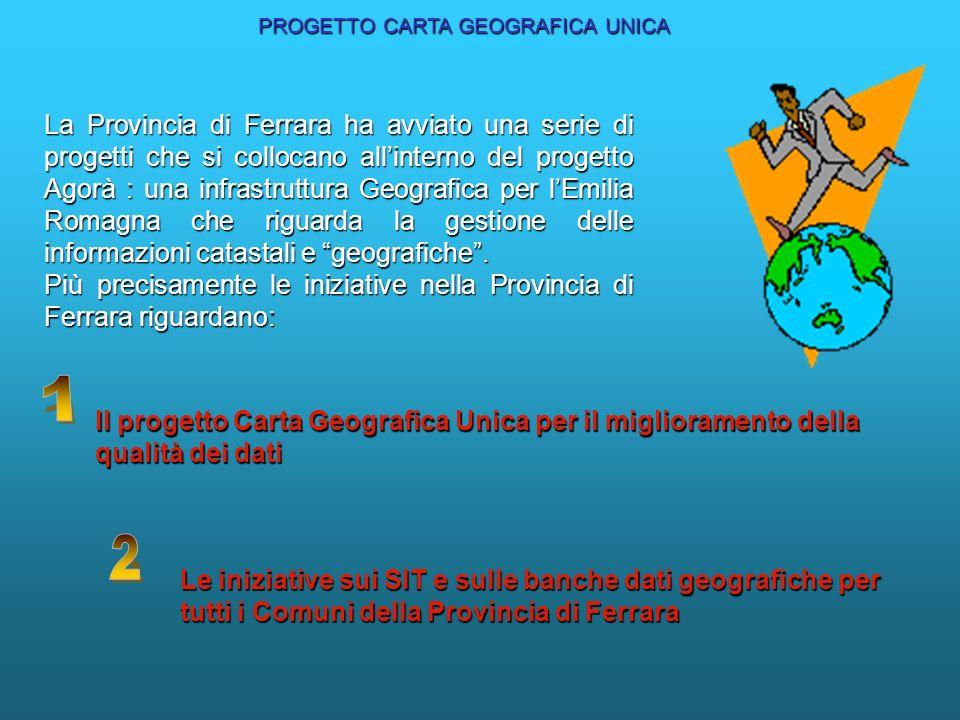 La Provincia di Ferrara ha avviato una serie di progetti che si collocano allinterno del progetto Agorà : una infrastruttura Geografica per lEmilia Romagna che riguarda la gestione delle informazioni catastali e geografiche.