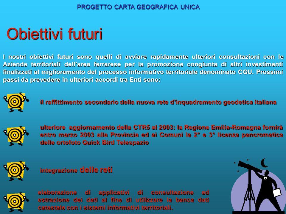 PROGETTO CARTA GEOGRAFICA UNICA I nostri obiettivi futuri sono quelli di avviare rapidamente ulteriori consultazioni con le Aziende territoriali della