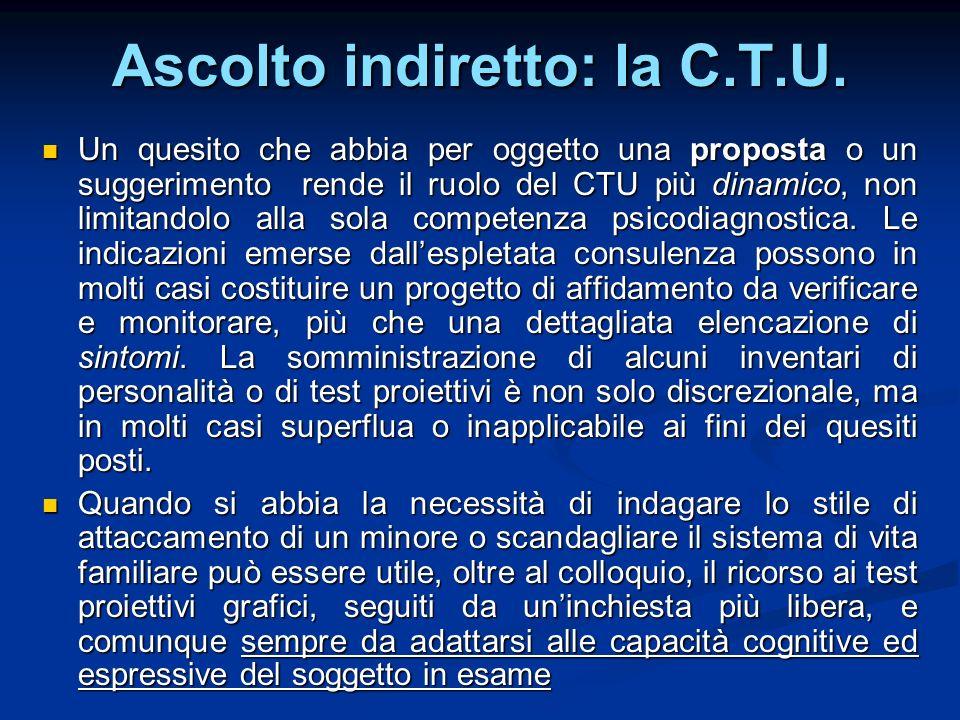 Ascolto indiretto: la C.T.U. Un quesito che abbia per oggetto una proposta o un suggerimento rende il ruolo del CTU più dinamico, non limitandolo alla