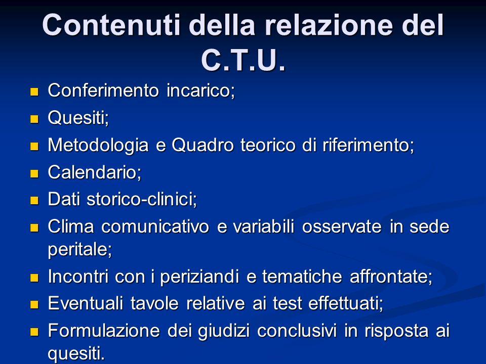 Contenuti della relazione del C.T.U. Conferimento incarico; Conferimento incarico; Quesiti; Quesiti; Metodologia e Quadro teorico di riferimento; Meto