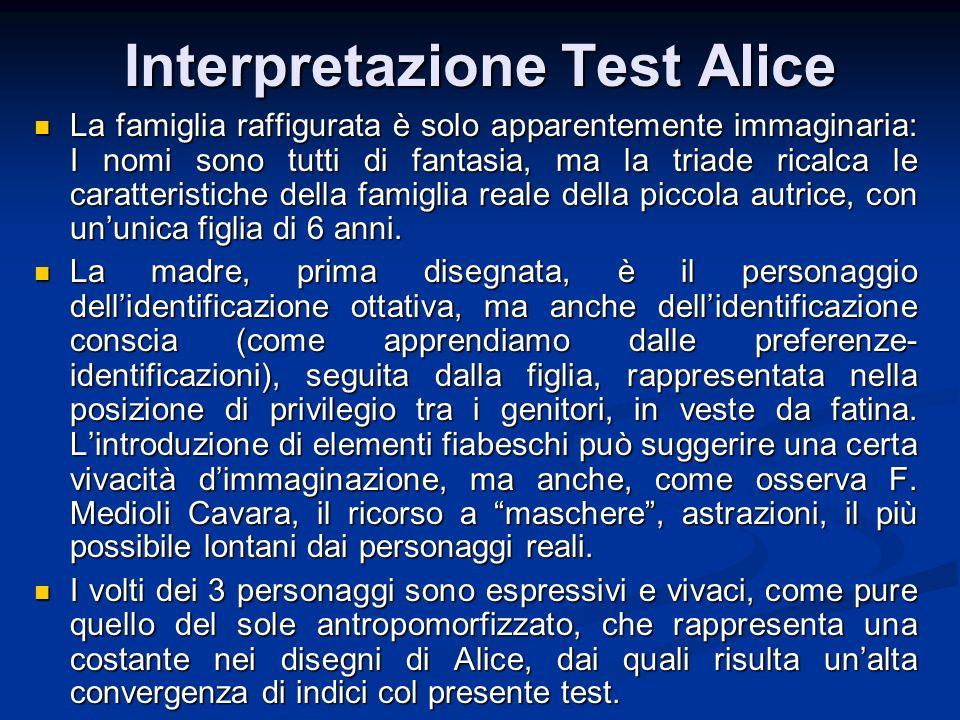 Interpretazione Test Alice La famiglia raffigurata è solo apparentemente immaginaria: I nomi sono tutti di fantasia, ma la triade ricalca le caratteri