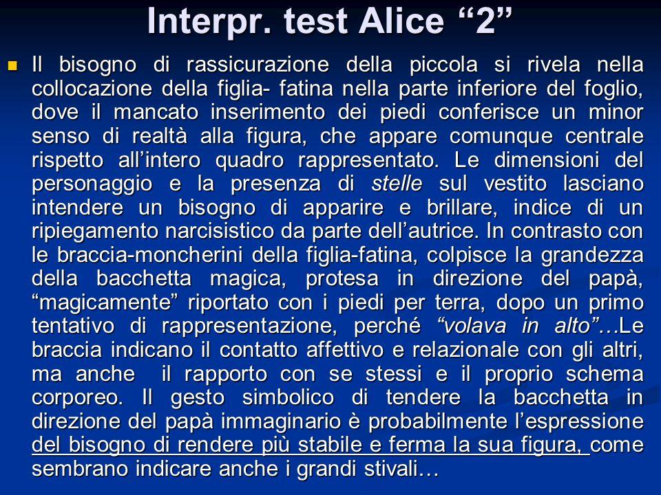 Interpr. test Alice 2 Il bisogno di rassicurazione della piccola si rivela nella collocazione della figlia- fatina nella parte inferiore del foglio, d