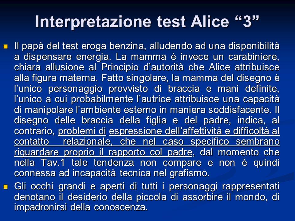 Interpretazione test Alice 3 Il papà del test eroga benzina, alludendo ad una disponibilità a dispensare energia. La mamma è invece un carabiniere, ch