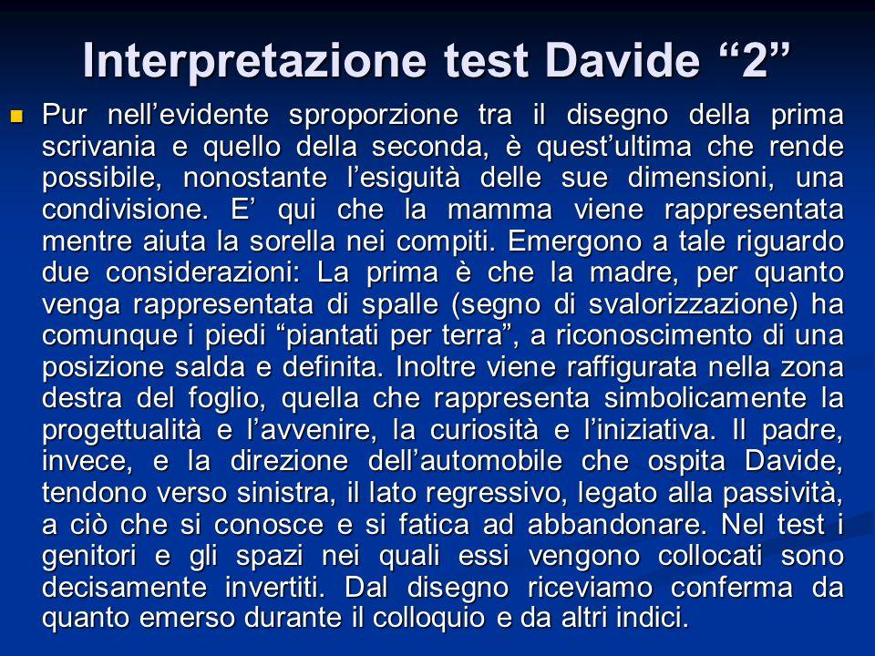Interpretazione test Davide 2 Pur nellevidente sproporzione tra il disegno della prima scrivania e quello della seconda, è questultima che rende possi