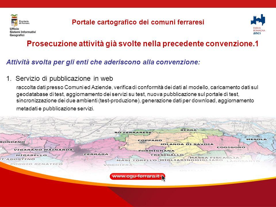 Prosecuzione attività già svolte nella precedente convenzione.1 Attività svolta per gli enti che aderiscono alla convenzione: 1.