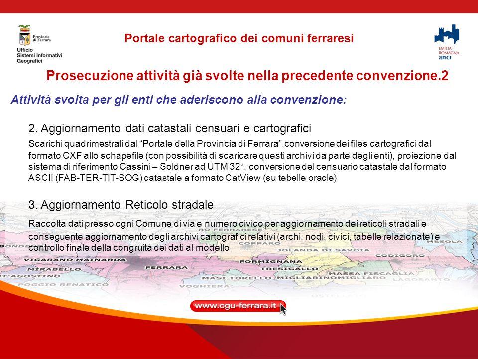Prosecuzione attività già svolte nella precedente convenzione.2 Attività svolta per gli enti che aderiscono alla convenzione: 2.