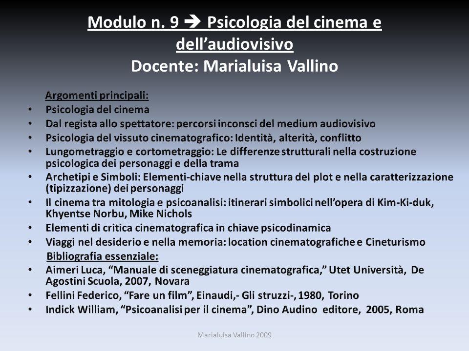 Modulo n. 9 Psicologia del cinema e dellaudiovisivo Docente: Marialuisa Vallino Marialuisa Vallino 2009