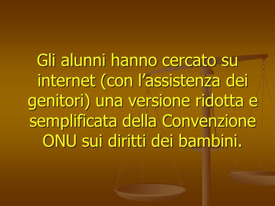 Gli alunni hanno cercato su internet (con lassistenza dei genitori) una versione ridotta e semplificata della Convenzione ONU sui diritti dei bambini.