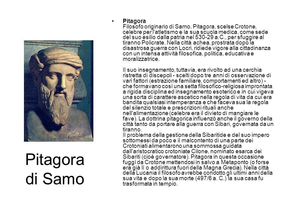 Pitagora di Samo Pitagora Filosofo originario di Samo, Pitagora, scelse Crotone, celebre per l'atletismo e la sua scuola medica, come sede del suo esi