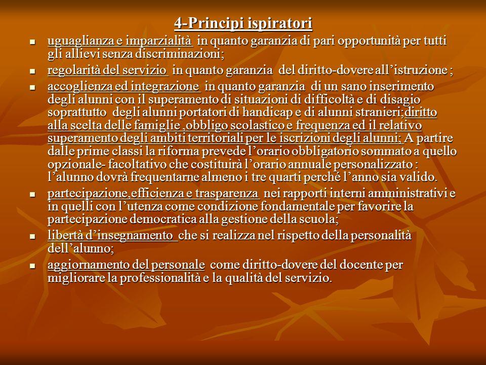 4-Principi ispiratori uguaglianza e imparzialità in quanto garanzia di pari opportunità per tutti gli allievi senza discriminazioni; uguaglianza e imp