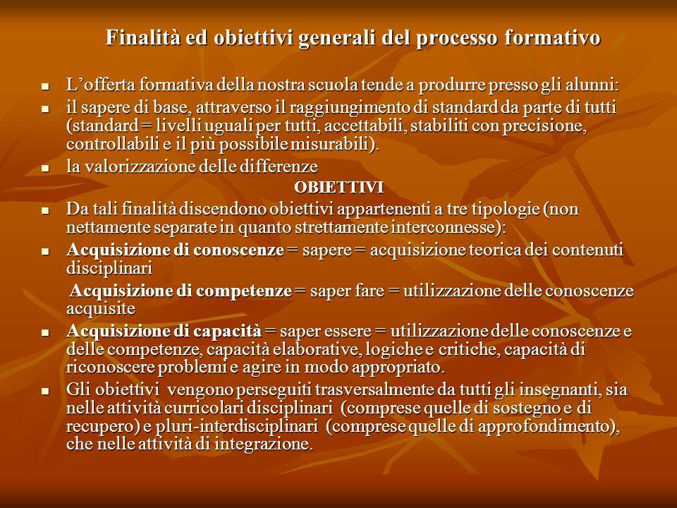 Finalità ed obiettivi generali del processo formativo Finalità ed obiettivi generali del processo formativo Lofferta formativa della nostra scuola ten