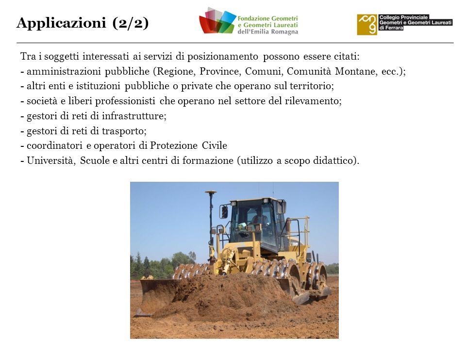 Applicazioni (2/2) Tra i soggetti interessati ai servizi di posizionamento possono essere citati: - amministrazioni pubbliche (Regione, Province, Comu