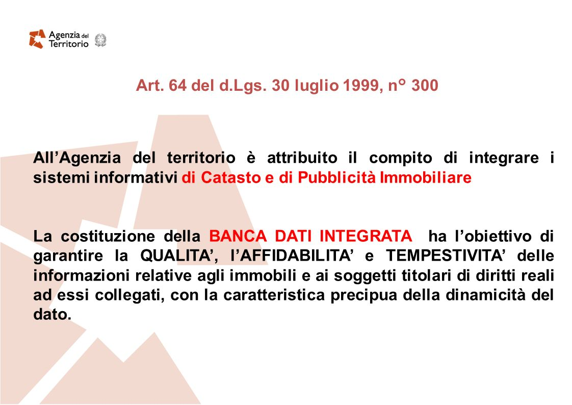 Sistema Informativo dellAgenzia Base Territoriale di riferimento Codice dellAmministrazione Digitale Qualità del dato Sicurezza delle informazioni Infrastrutture Sistema Pubblico di Connettività D.Lgs.