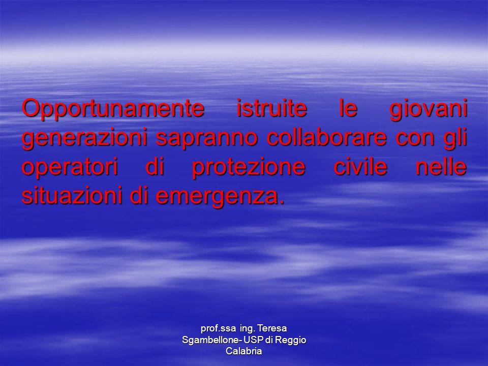 prof.ssa ing. Teresa Sgambellone- USP di Reggio Calabria Opportunamente istruite le giovani generazioni sapranno collaborare con gli operatori di prot