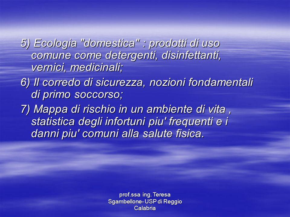 prof.ssa ing. Teresa Sgambellone- USP di Reggio Calabria 5) Ecologia