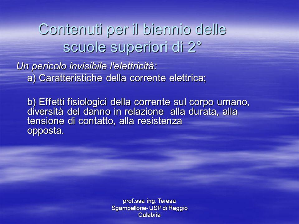 prof.ssa ing. Teresa Sgambellone- USP di Reggio Calabria Contenuti per il biennio delle scuole superiori di 2° Un pericolo invisibile l'elettricità: a
