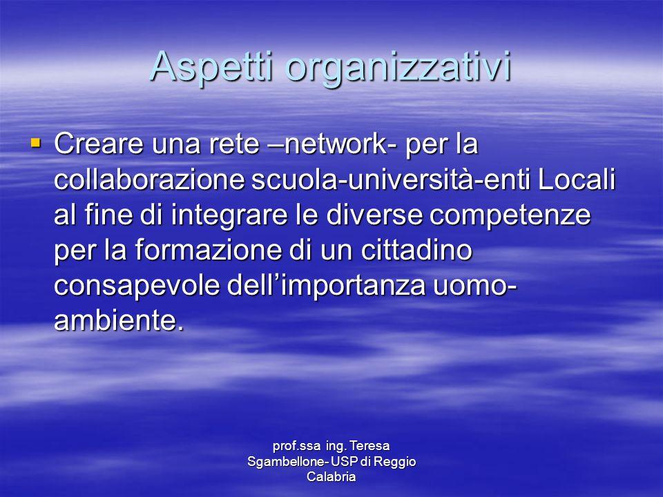 prof.ssa ing. Teresa Sgambellone- USP di Reggio Calabria Aspetti organizzativi Creare una rete –network- per la collaborazione scuola-università-enti