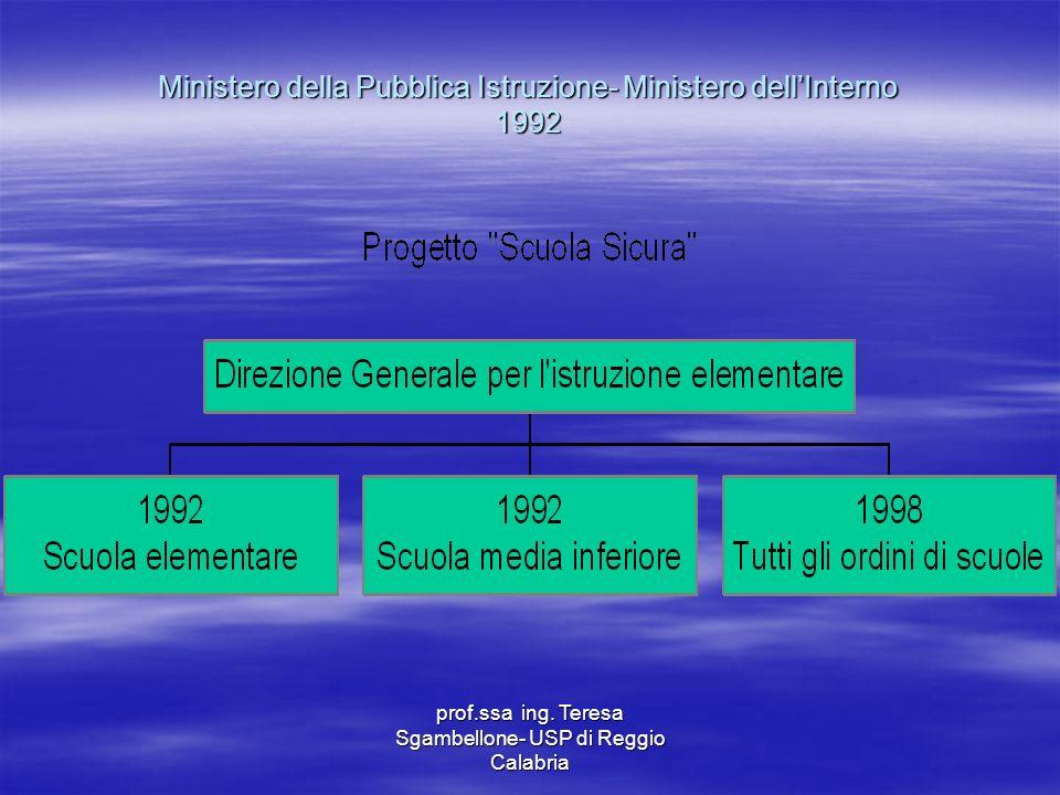 Ministero della Pubblica Istruzione- Ministero dellInterno 1992