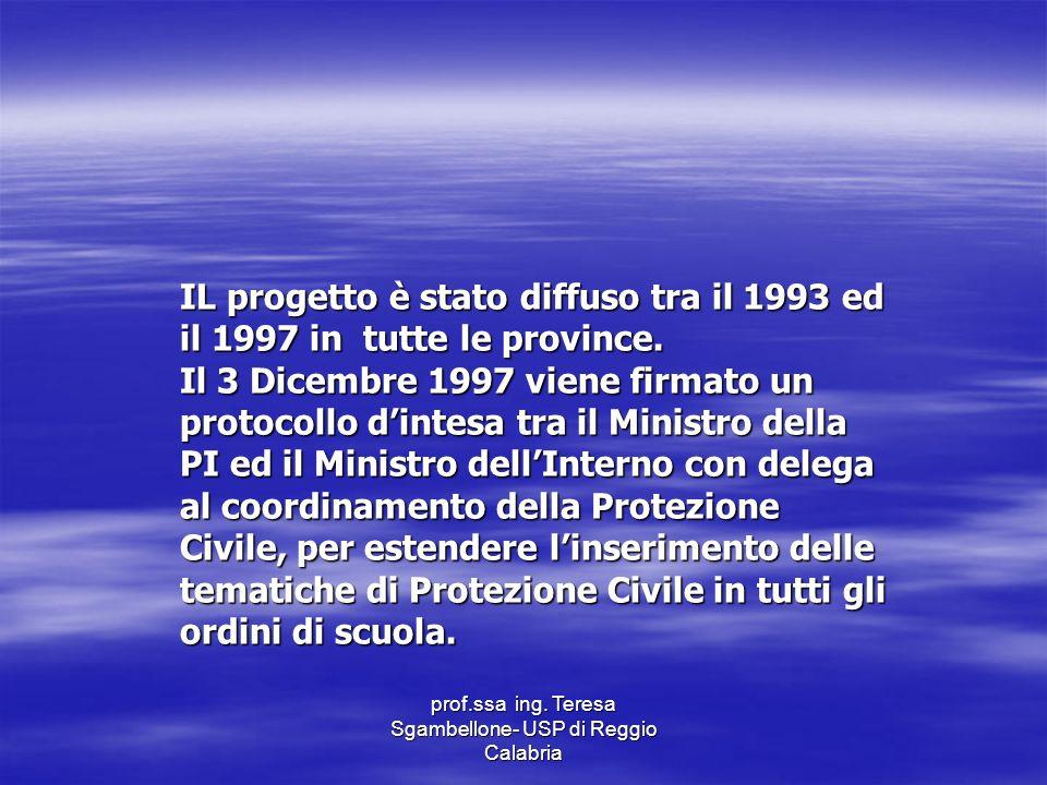 prof.ssa ing. Teresa Sgambellone- USP di Reggio Calabria IL progetto è stato diffuso tra il 1993 ed il 1997 in tutte le province. Il 3 Dicembre 1997 v