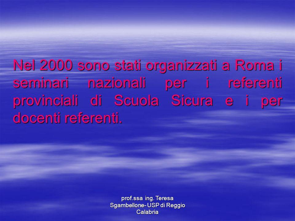 prof.ssa ing. Teresa Sgambellone- USP di Reggio Calabria Nel 2000 sono stati organizzati a Roma i seminari nazionali per i referenti provinciali di Sc