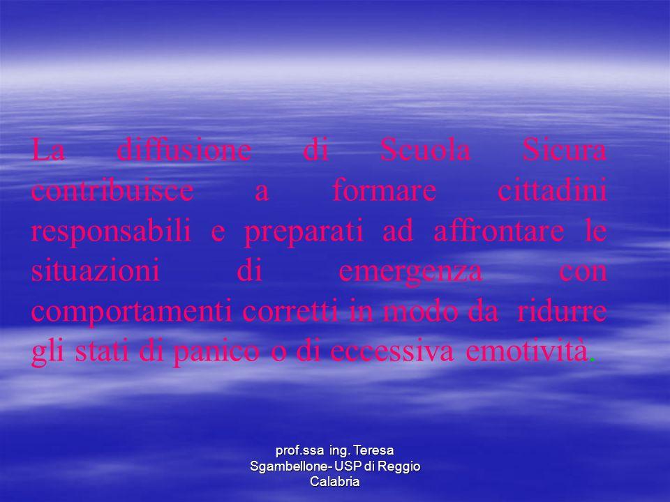 prof.ssa ing. Teresa Sgambellone- USP di Reggio Calabria La diffusione di Scuola Sicura contribuisce a formare cittadini responsabili e preparati ad a