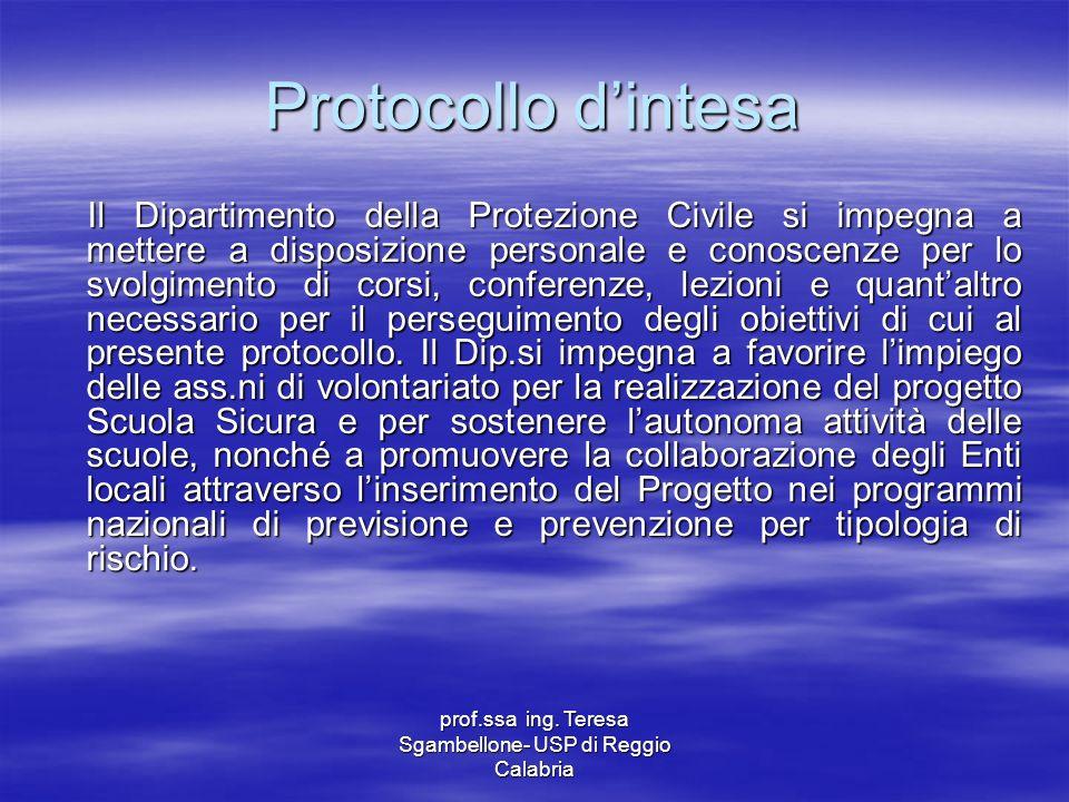 prof.ssa ing. Teresa Sgambellone- USP di Reggio Calabria Protocollo dintesa Il Dipartimento della Protezione Civile si impegna a mettere a disposizion