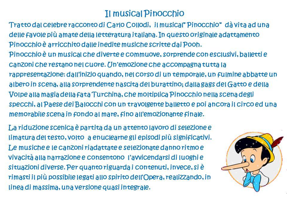 Il musical Pinocchio Tratto dal celebre racconto di Carlo Collodi, il musical Pinocchio dà vita ad una delle favole più amate della letteratura italiana.