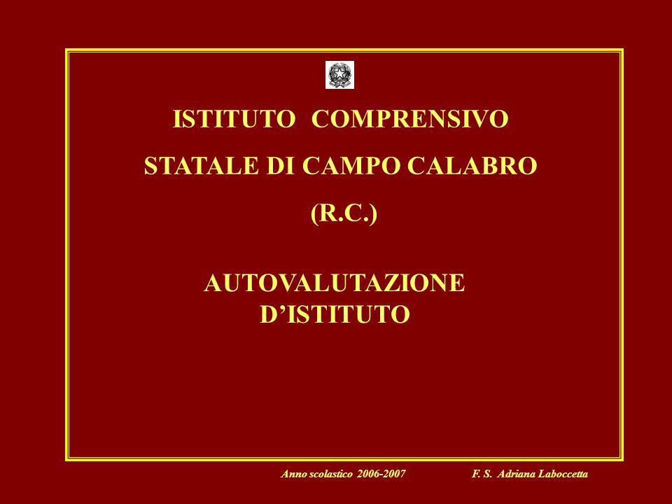 ISTITUTO COMPRENSIVO STATALE DI CAMPO CALABRO (R.C.) AUTOVALUTAZIONE DISTITUTO Anno scolastico 2006-2007 F.
