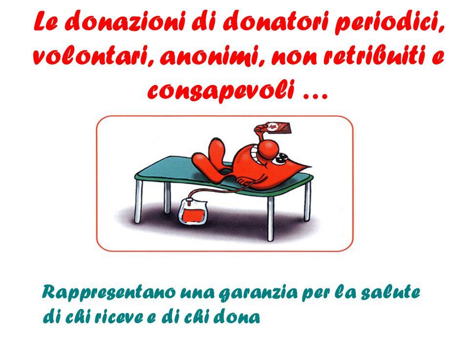 Le donazioni di donatori periodici, volontari, anonimi, non retribuiti e consapevoli … Rappresentano una garanzia per la salute di chi riceve e di chi