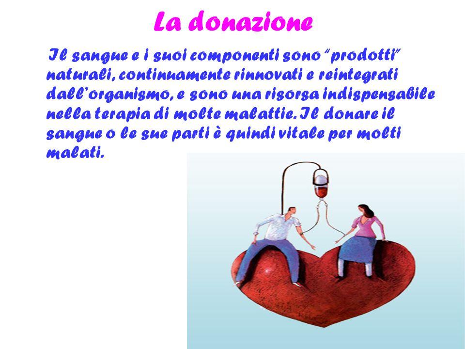 La donazione Il sangue e i suoi componenti sono prodotti naturali, continuamente rinnovati e reintegrati dallorganismo, e sono una risorsa indispensab
